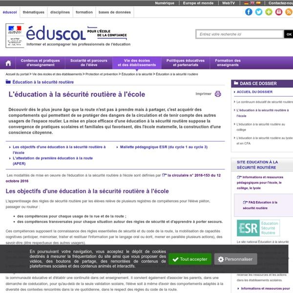 RUB. SITE Éduscol : L'éducation à la sécurité routière à l'école
