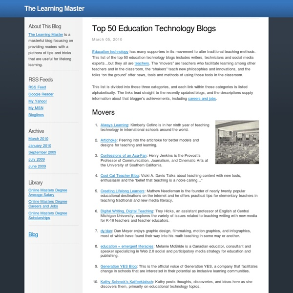 Top 50 Education Technology Blogs