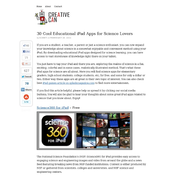 30 Cool Educational iPad Apps for Science Lovers - Creative Can Creative Can