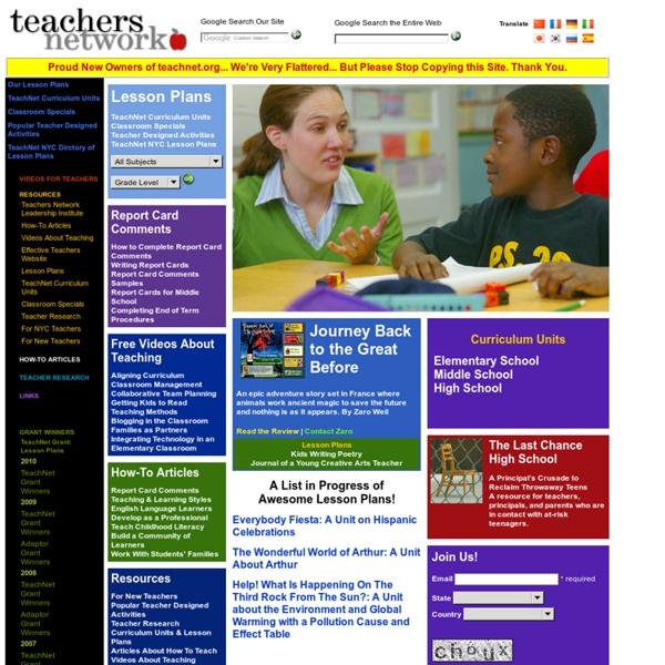 Teachers Network - Lesson Plans, Online Courses, Resources & Videos for Teachers, Educators & Instructors