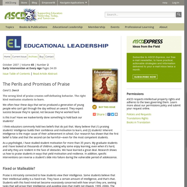 Educational Leadership:Early Intervention at Every Age:The Perils and Promise...