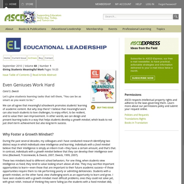 Educational Leadership:Giving Students Meaningful Work:Even Geniuses Work Hard