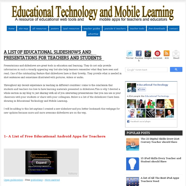 A List of Educational Slideshows and Presentations for Teachers and Students