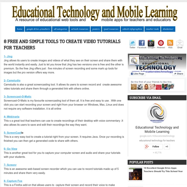 8 Free and simple tools to create video tutorials for Teachers