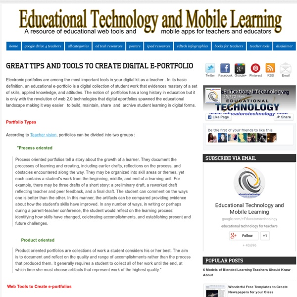 Educational Technology and Mobile Learning: Great Tips and Tools to Create Digital e-Portfolio