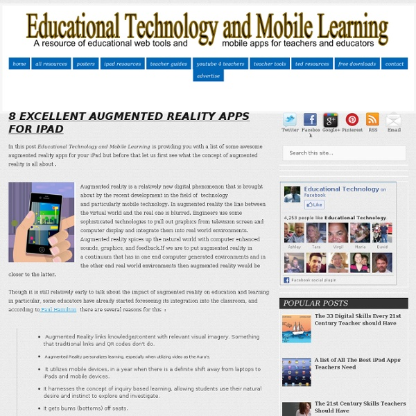 Educational Technology and Mobile Learning: 8 Excellent Augmented Reality Apps for iPad