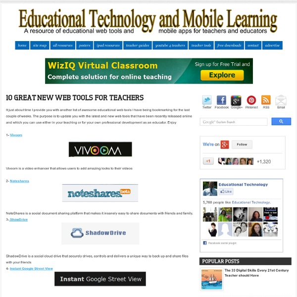 10 Great New Web Tools for Teachers
