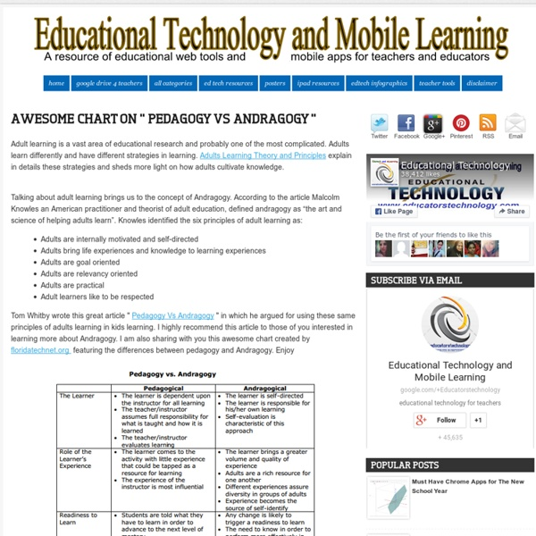"Awesome Chart on "" Pedagogy Vs Andragogy "" ~ Educational Technology and Mobile Learning"