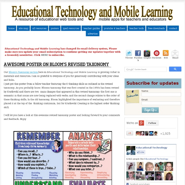 Educational Technology and Mobile Learning: Awesome Poster on Bloom's Revised Taxonomy