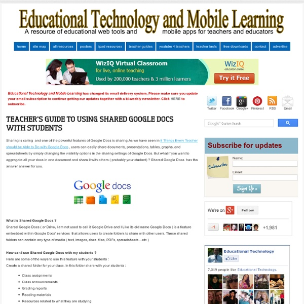 Teacher's Guide to Using Shared Google Docs with Students