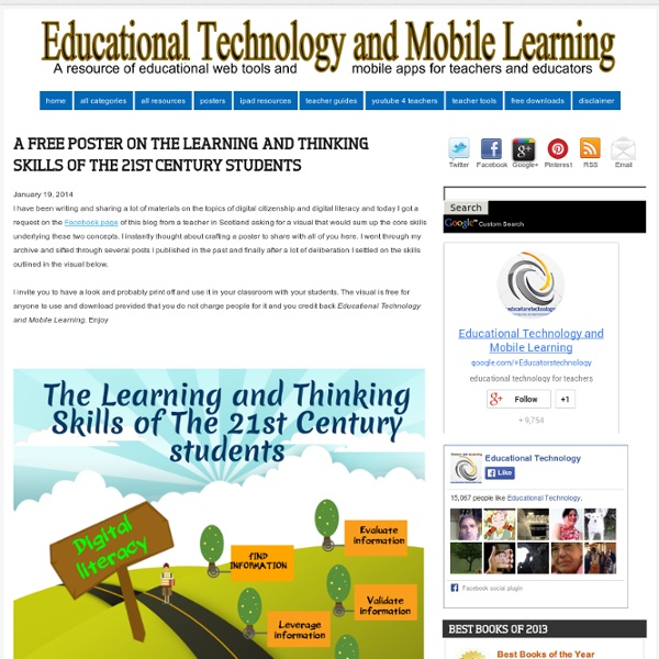 A Free Poster on The Learning and Thinking Skills of The 21st Century Students