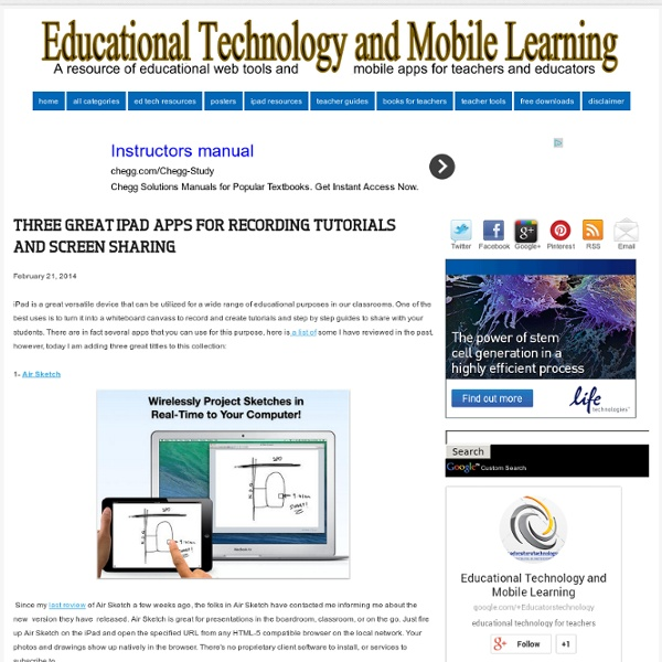 Educational Technology and Mobile Learning: Three Great iPad Apps for Recording Tutorials and Screen Sharing