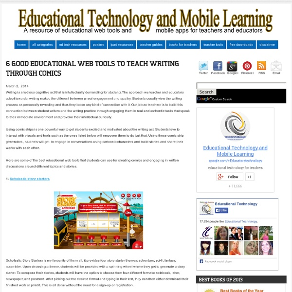 Educational Technology and Mobile Learning: 6 Good Educational Web Tools to Teach Writing Through Comics