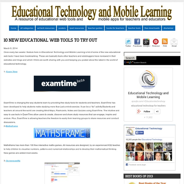 10 New Educational Web Tools to Try Out