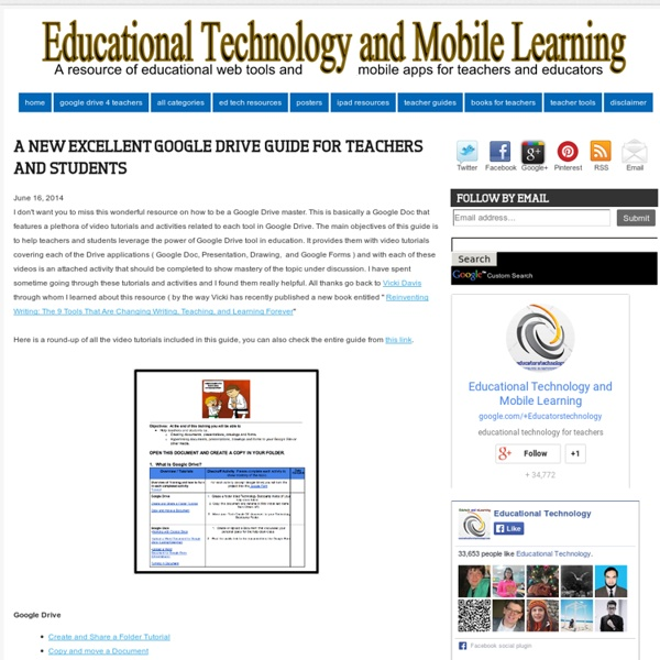 Educational Technology and Mobile Learning: A New Excellent Google Drive Guide for Teachers and Students