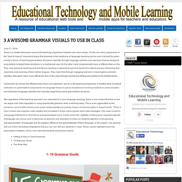 Educational Technology and Mobile Learning: 3 Awesome Grammar Visuals to Use in Class