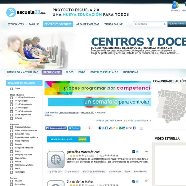 Recursos educativos clasificados - Escuela20 - Programa escuela 2.0, recursos didácticos y productos de tecnología educativa