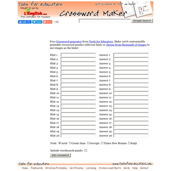 Tools for Educators - free crossword maker, make printable worksheets with images!