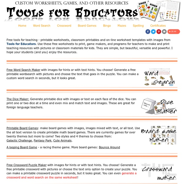 Tools for Educators - free worksheet templates, printable game templates, 100% customizable worksheet makers with images!