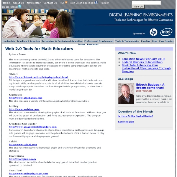 Web 2.0 Tools for Math Educators