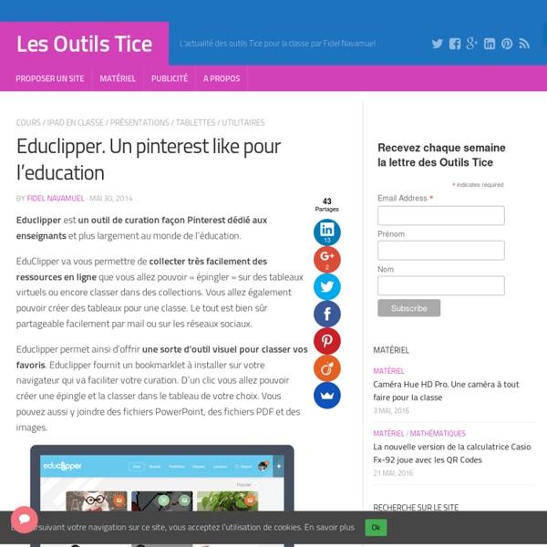 Educlipper. Un pinterest like pour l'education – Les Outils Tice