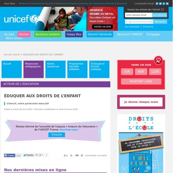 RUB. SITE UNICEF : Éduquer aux droits de l'enfant