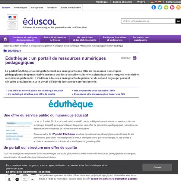 Éduthèque - Des ressources numériques pour l'école