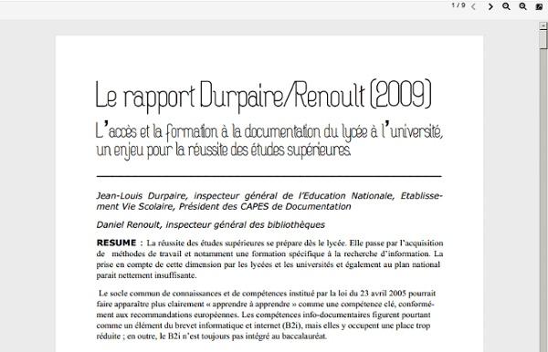Rapport de Jean-Louis Durpaire et Daniel Renoult 2009