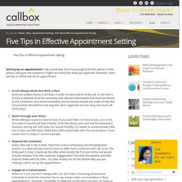 Five Tips in Effective Appointment Setting