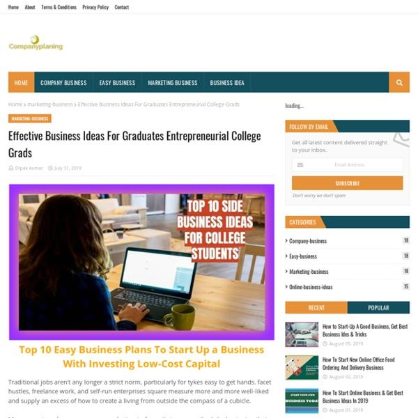Effective Business Ideas For Graduates Entrepreneurial College Grads