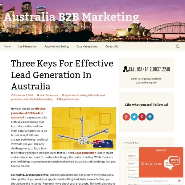 Three Keys For Effective Lead Generation In Australia