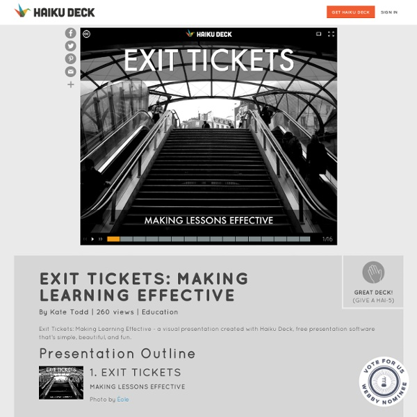 Exit Tickets: Making Learning Effective