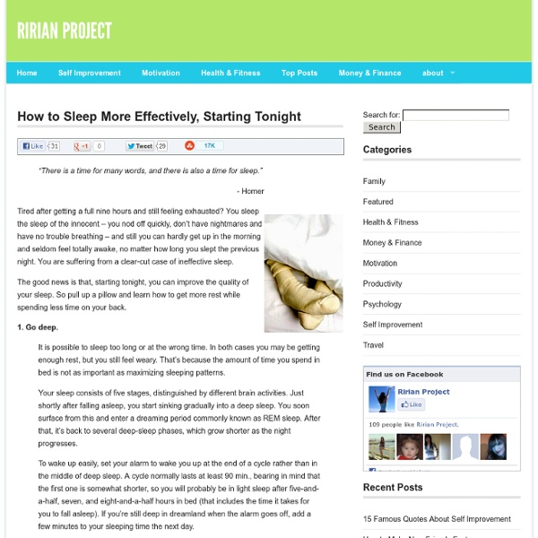 How to Sleep More Effectively, Starting Tonight at Personal Development with Ririan Project