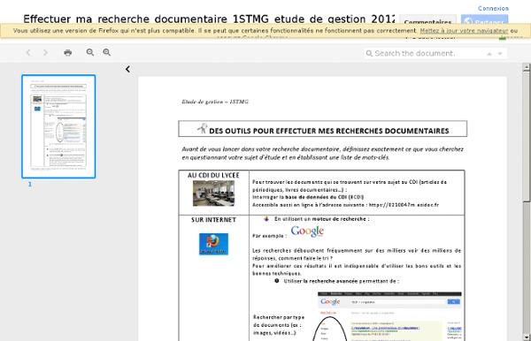 5/ Effectuer la recherche documentaire pour l'etude de gestion