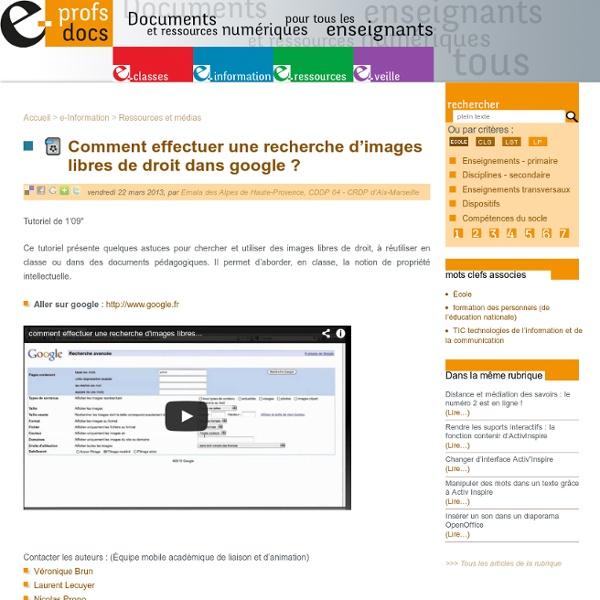 Comment effectuer une recherche d'images libres de droit dans google (...)