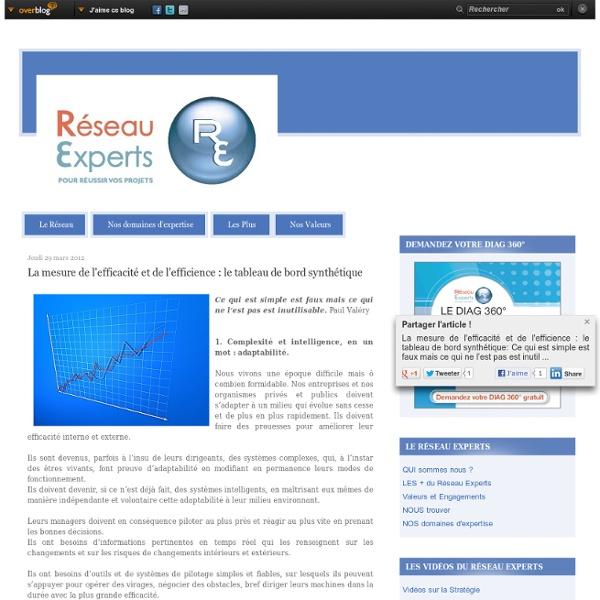 La mesure de l'efficacité et de l'efficience : le tableau de bord synthétique