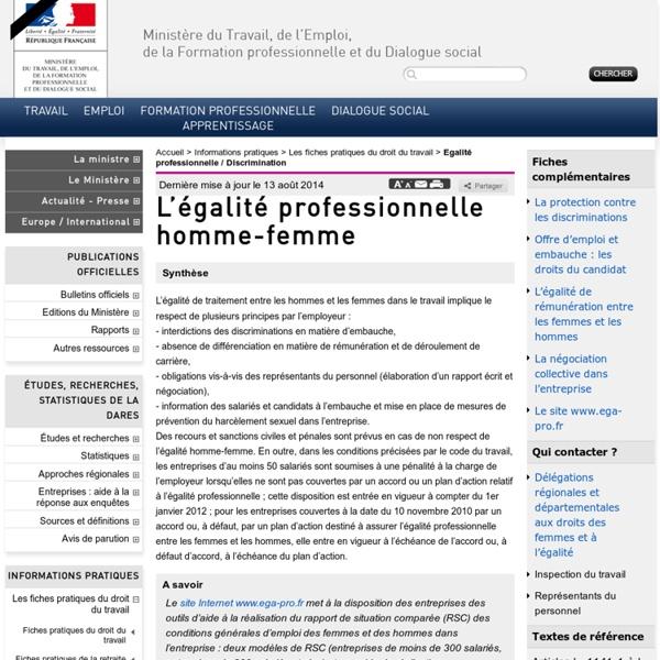 L'égalité professionnelle homme-femme : synthèse. Ministère du Travail, de l'emploi, de la formation professionnelle et du dialogue social.
