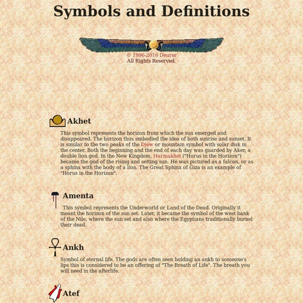 Egyptian Symbols And Definitions Pearltrees