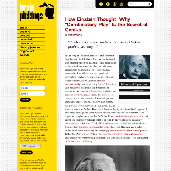 """How Einstein Thought: Why """"Combinatory Play"""" Is the Secret of Genius"""