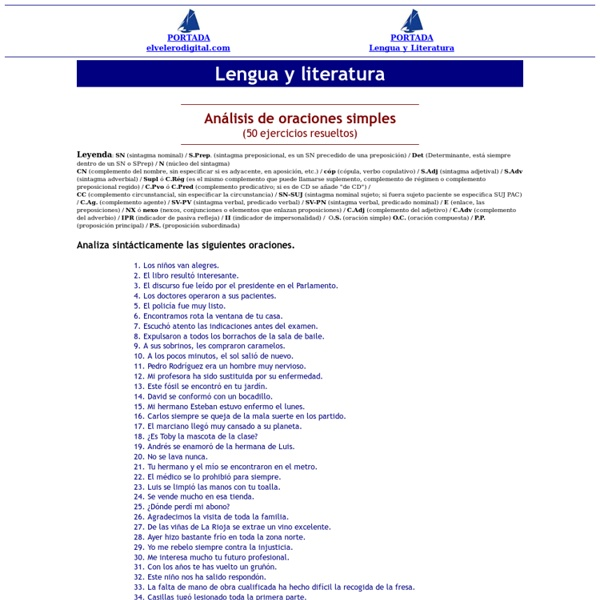 Ejercicios de análisis de oraciones simples y compuestas