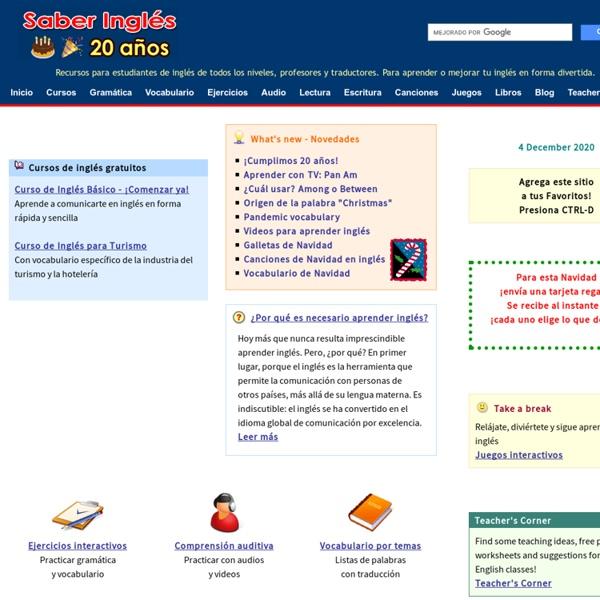 Saber Inglés - Aprender Inglés por Internet - Cursos de inglés gratis, ejercicios, diccionarios y recursos para todos los niveles - Free ESL Course and Exercises