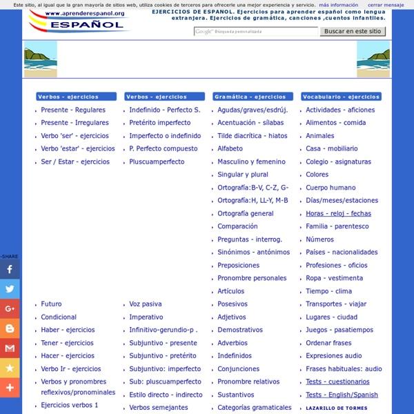 Ejercicios para aprender español. Ejercicios de gramática . Spanish exercises