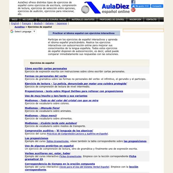 Ejercicios de español interactivos - AulaDiez