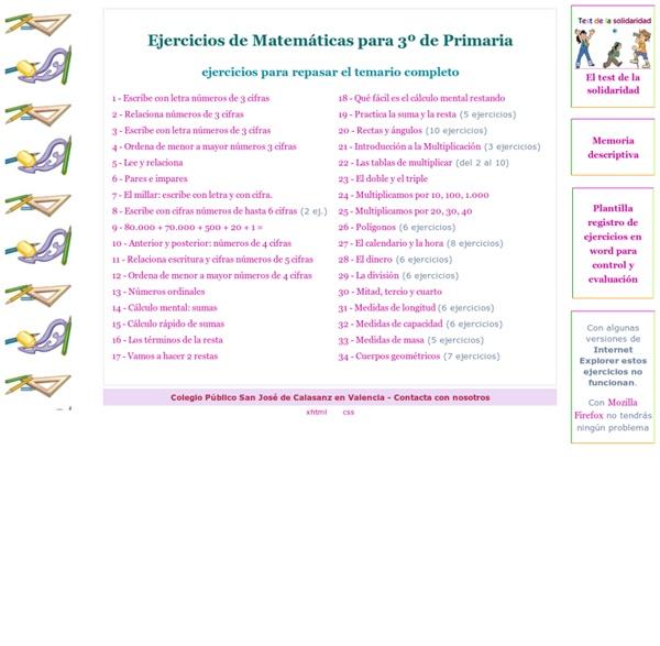 Ejercicios de Matemáticas para 3º de Primaria