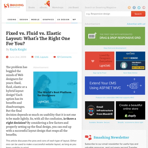 Fixed vs. Fluid vs. Elastic Layout: What's The Right One For You?