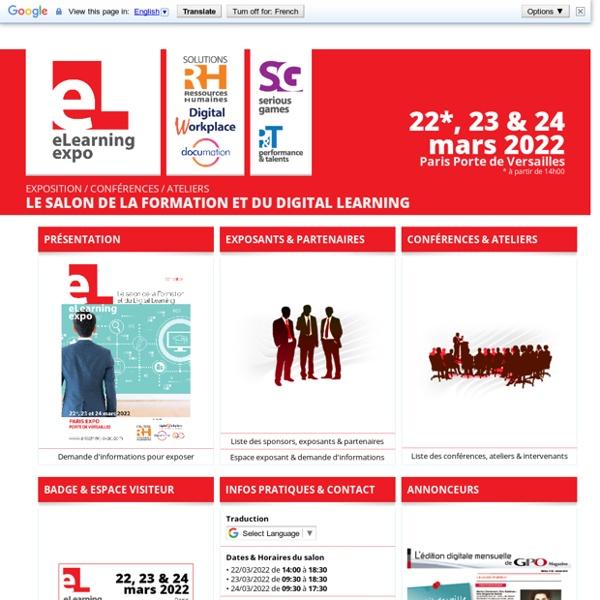 22/04/2017 Elearning Expo / Serious Game - Le Salon de la Formation et du Digital Learning - 21*, 22 & 23 mars 2017 - Paris Porte de Versailles - Pavillon 4.1-4.2