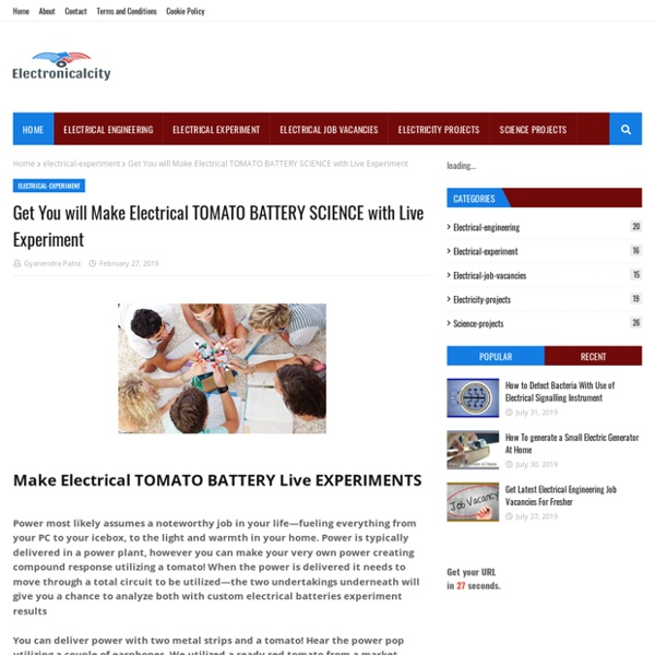 Get You will Make Electrical TOMATO BATTERY SCIENCE with Live Experiment