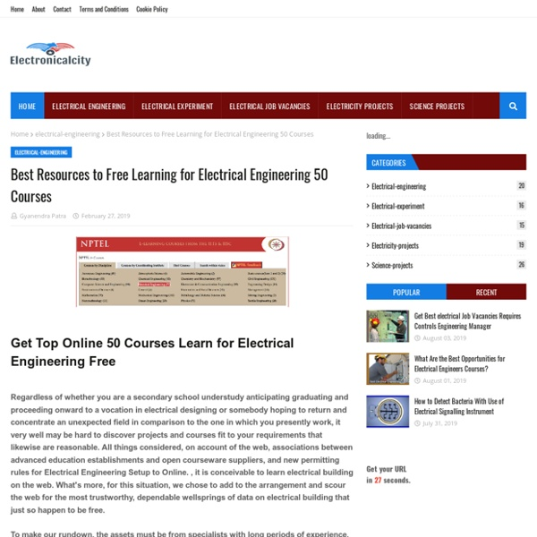 Best Resources to Free Learning for Electrical Engineering 50 Courses
