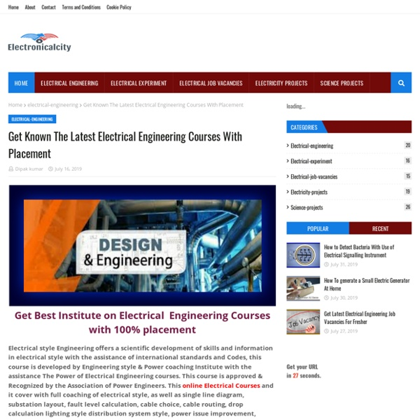 Get Known The Latest Electrical Engineering Courses With Placement