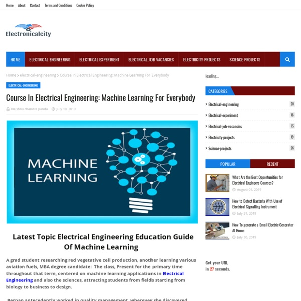Course In Electrical Engineering: Machine Learning For Everybody